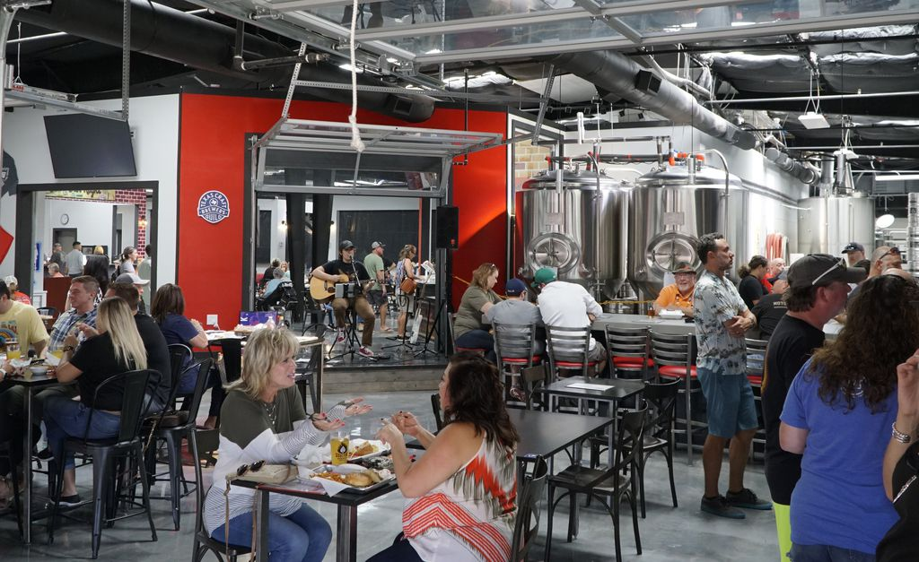 Soul Fire Brewing Co. is one of nine tenants in a Roanoke food hall. The brewery serves beer and patron are welcome to purchase food from anywhere else int he building to pair with it.