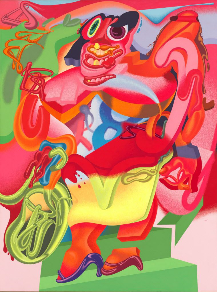 Peter Saul ( b. 1934).  de Kooning's Woman with Bicycle, 1976. Acrylic on linen. Whitney Museum of American Art, New York; purchase, with funds from the Sara Roby Foundation.   Peter Saul 1976 Saul, Peter