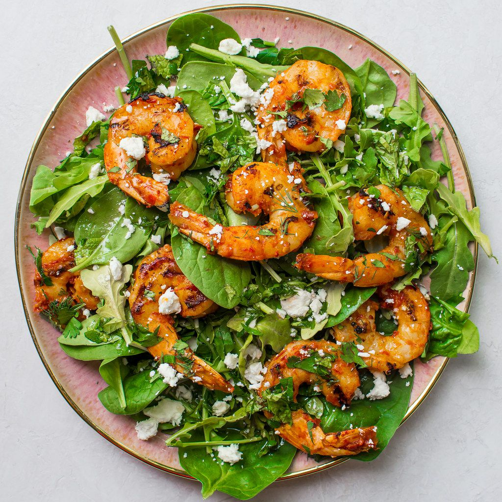 Harissa Shrimp Salad with Herbs and Goat Cheese