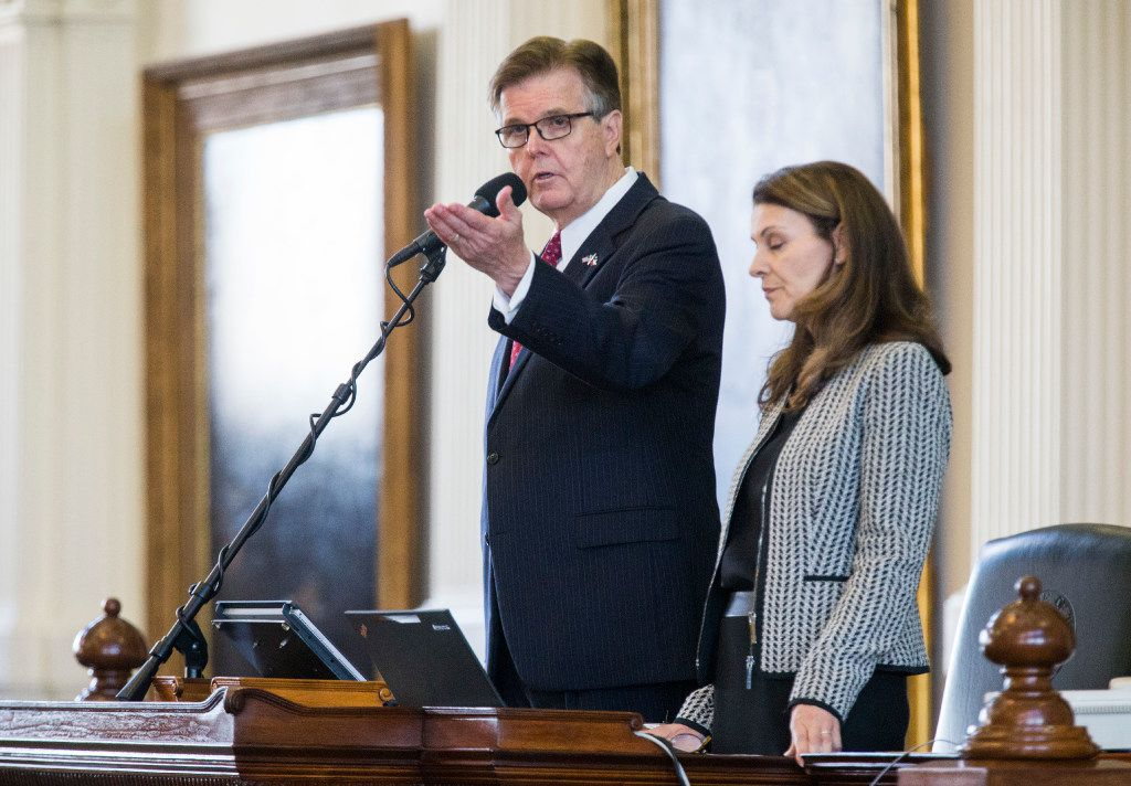 Lt. Gov. Dan Patrick argues a point of order during the first day of a legislative special session on Tuesday, July 18, 2017 at the Texas state capitol in Austin, Texas. At right is parliamentarian Karina Casari Davis. (Ashley Landis/The Dallas Morning News)