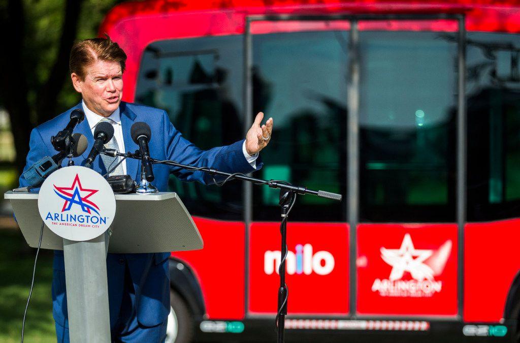 Arlington Mayor Jeff Williams spoke last August as Arlington launched Milo, a free shuttle service using autonomous vehicles in the city's entertainment district.