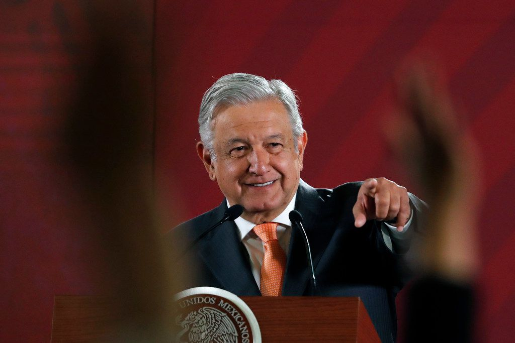 Mexican President Andres Manuel Lopez Obrador answers questions from journalists at his daily 7 a.m. news conference at the National Palace in Mexico City, Tuesday, April 9, 2019.