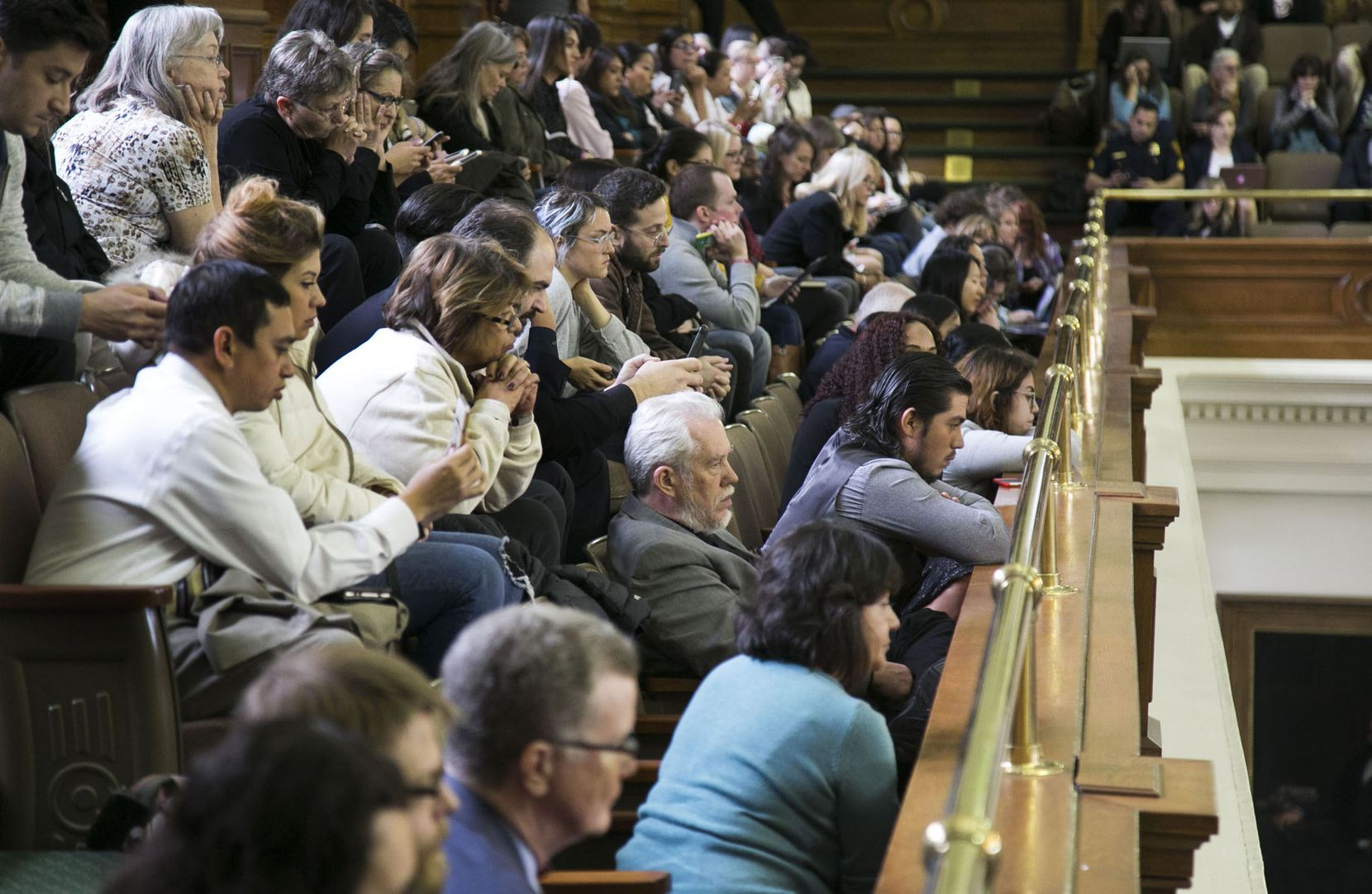 People filled the gallery at the Texas Capitol on Thursday for a hearing in the Senate on a bill to ban so-called sanctuary cities. (Kelly West/Austin American-Statesman)