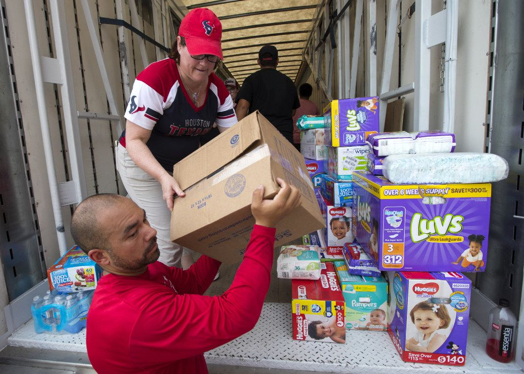Relief supplies are pouring into Houston and the gulf region.