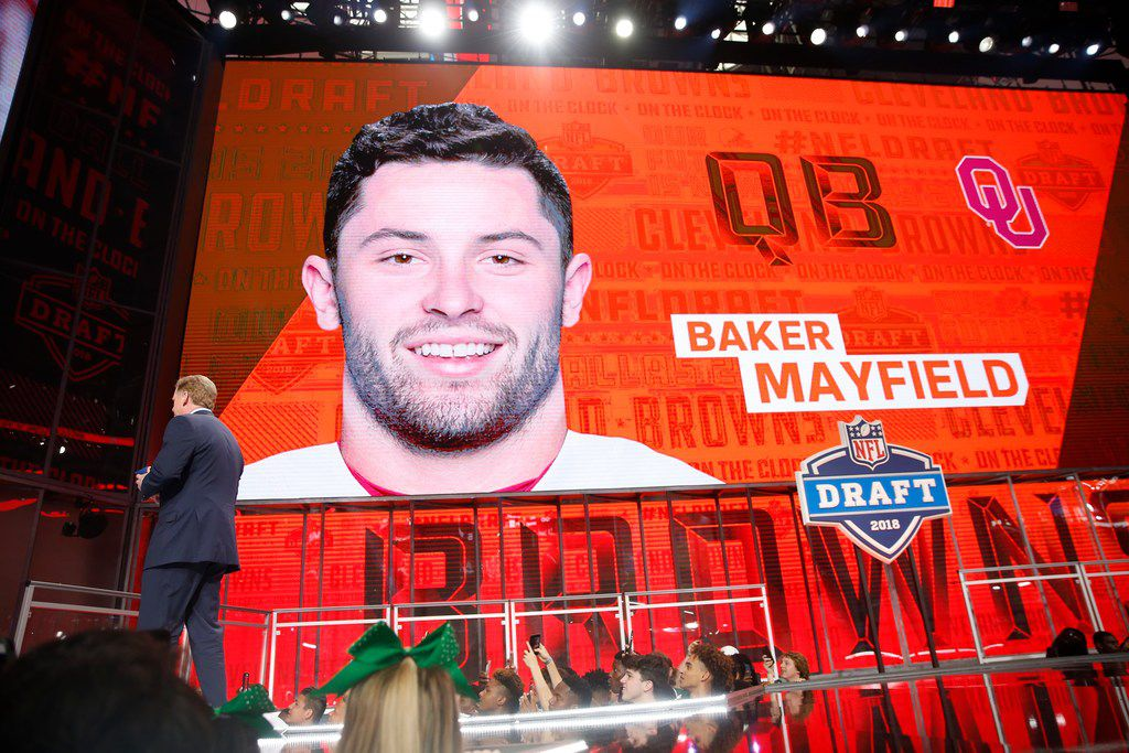 Cleveland Browns pick Baker Mayfield during the first round of the NFL Draft at AT&T Stadium in Arlington, Texas, Thursday, April 26, 2018. (Jae S. Lee/The Dallas Morning News)