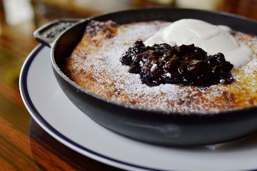 Ricotta pancakes with mascarpone and blueberry-lemon compote from Bullion's Easter brunch menu, photographed Friday, April 5, 2019 at Bullion in Dallas.