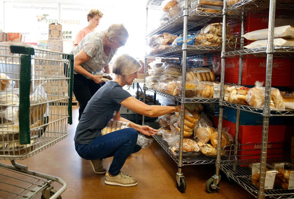 From front: Volunteers Janet Bowen of Frisco, Judy Pedersen of Frisco and Keegan Kasprowicz of The Colony sorted donated food at Frisco Family Services Food Pantry on Thursday, July 11, 2019.