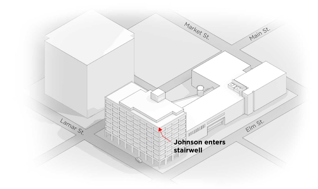 4) Up to the second floor: The stairwell, located between Buildings A and B, empties into a second-floor mezzanine which overlooks the first-floor lobby. Despite his injuries, Shaw follows Johnson into the stairwell, but is fired upon. Shaw retreats, but - according to Hannigan -maintains his post covering the mezzanine until the scene is under control.
