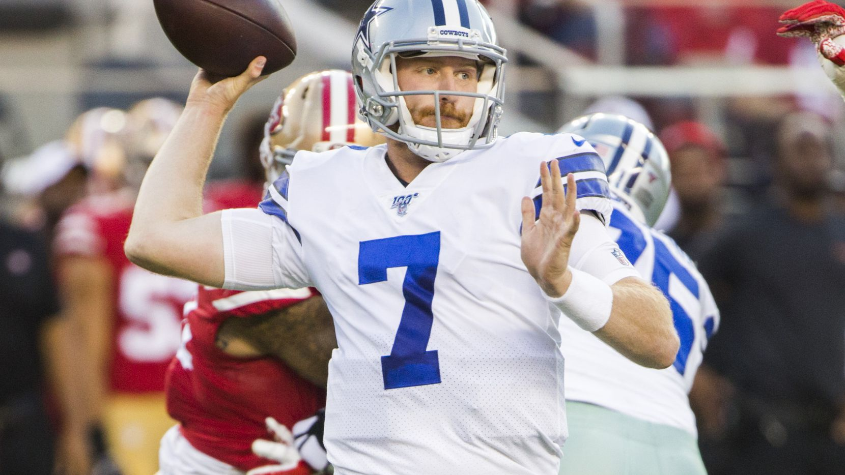 Dallas Cowboys quarterback Cooper Rush (7) throws a pass during the second quarter of an NFL preseason game between the Dallas Cowboys and the San Francisco 49ers on Saturday, August 10, 2019 at Levi's Stadium in Santa Clara, California. (Ashley Landis/The Dallas Morning News)