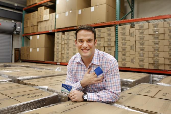 Ben Kusin, CEO of Reviver, is enthusiastic about the prospects for his company's reusable, odor-eliminating clothing swipes.