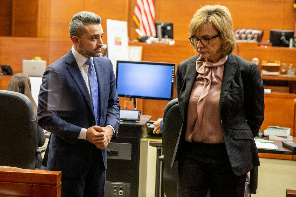 Dario Ferdows, a nightclub owner, looks at Charla Aldous, Stacy Jackson's lawyer, as they wait for the hearing to begin at George Allen civil courthouse in Dallas on Monday, December 10, 2018. Josh Brent drove drunk and caused a crash that killed Stacey Jackson's son Jerry Brown. Jackson is suing Brent and the bar that served him.