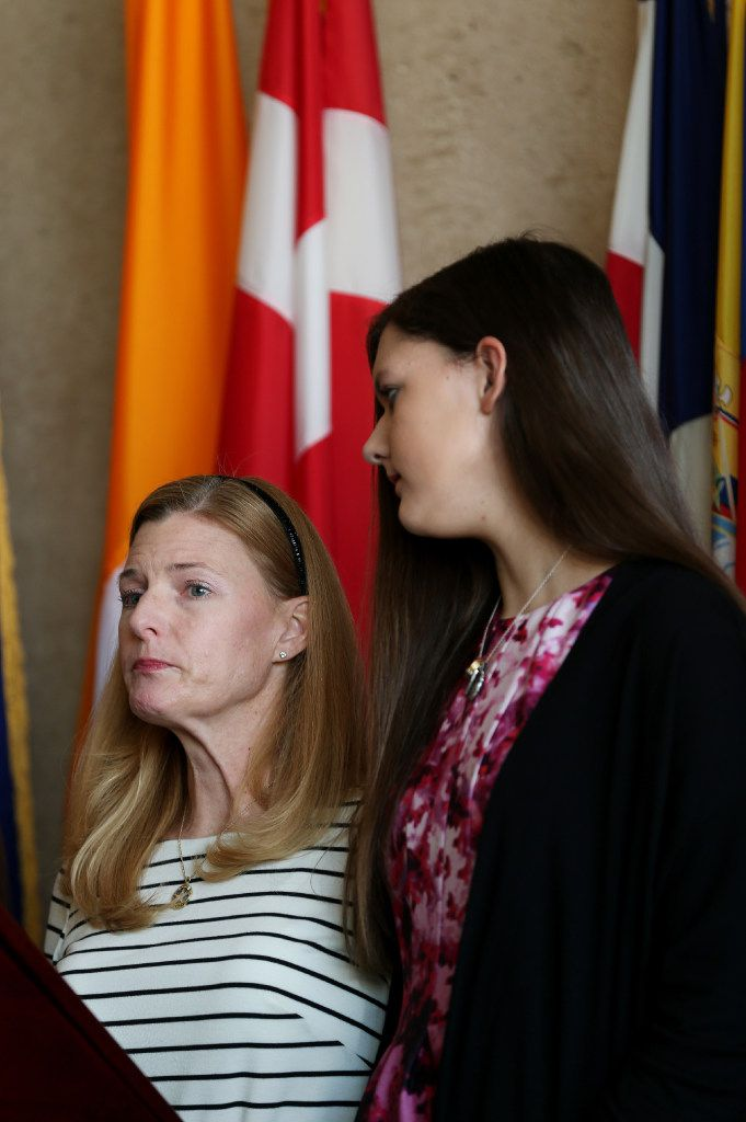 Heidi Smith and her daughter Victoria attended a news conference in December to announce that about $10 million has been raised to benefit the officers and families affected by the July 7 shootings.