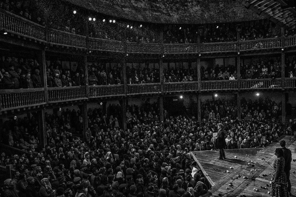 Dominic Dromgoole onstage at the Globe. From Hamlet Globe to Globe.