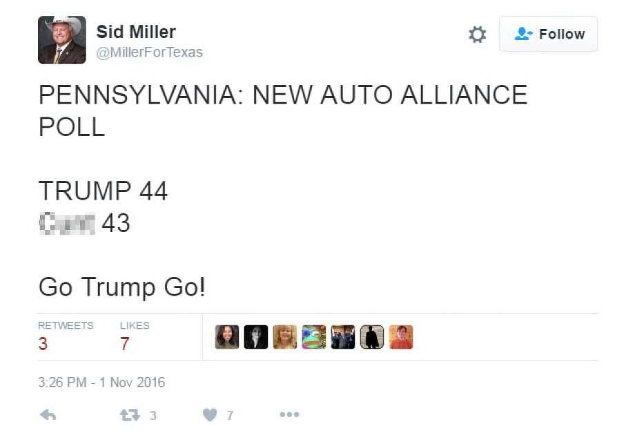 El tuit de Sid Miller donde usa una palabra obscena para describir a Hillary Clinton.