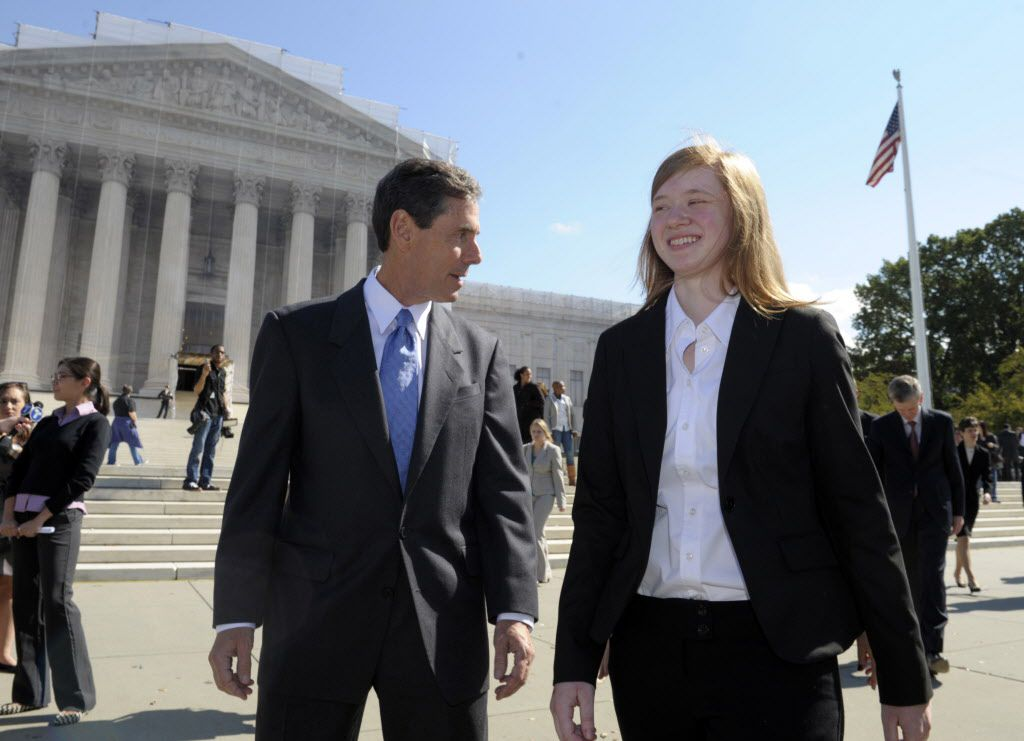 Abigail Fisher, the Texan involved in the University of Texas affirmative action case, and Edward Blum, who runs a group working to end affirmative action, walked outside the Supreme Court in 2012. (The Associated Press)