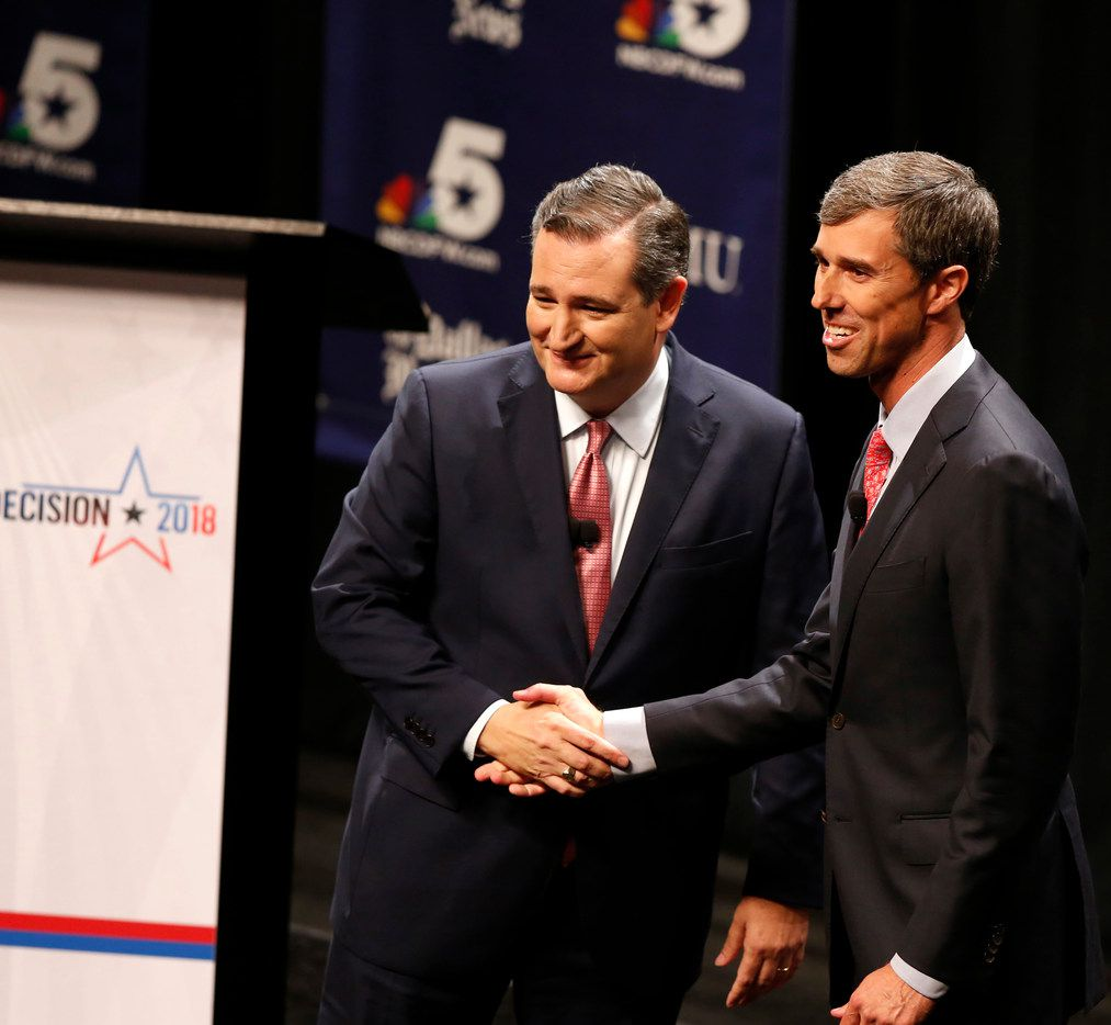 Sent. Ted Cruz and U.S. Rep. Beto O'Rourke shook hands after their first debate, held at McFarlin Auditorium at SMU last September, in race for U.S. Senate.