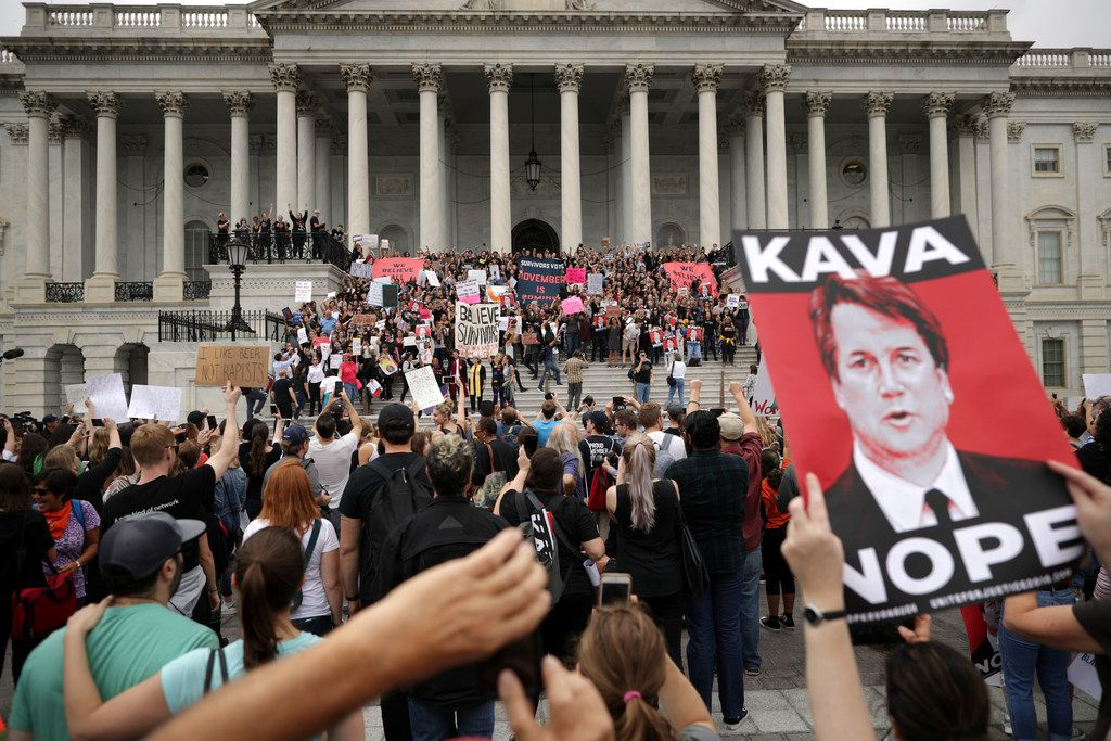 Hundreds of protesters occupy the center steps of the East Front of the U.S. Capitol after breaking through barricades to demonstrate against the confirmation of Supreme Court nominee Judge Brett Kavanaugh Oct. 6, 2018 in Washington, D.C.
