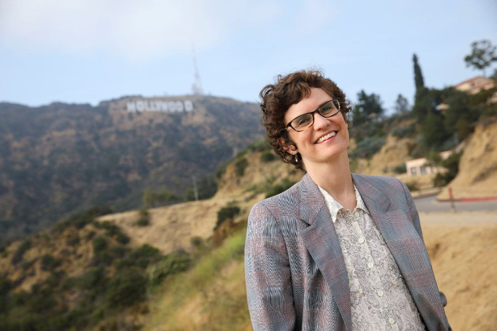 Author Merritt Tierce poses for a portrait near the Hollywood sign on Tuesday, June 6, 2017 in Hollywood, California. Her first novel, Love Me Back, was a critical hit. The North Texas novelist has a new job as a staff writer on season six of the hit Netflix series Orange is the New Black.