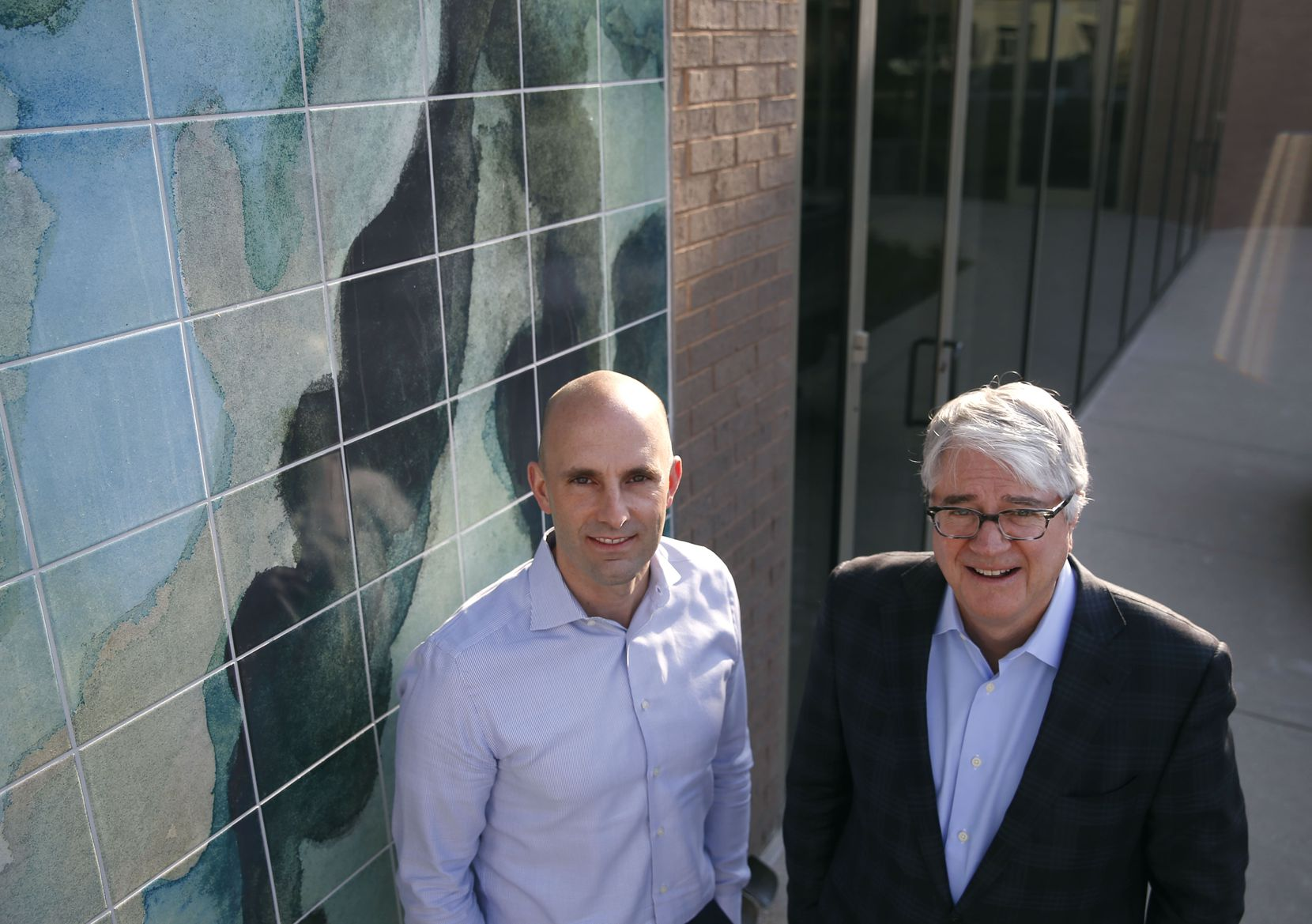 Chief operating officer Jeremy Buonamici (left) and John Sughrue, CEO of Brook Partners, pose for a portrait at River Bend in the Design District.
