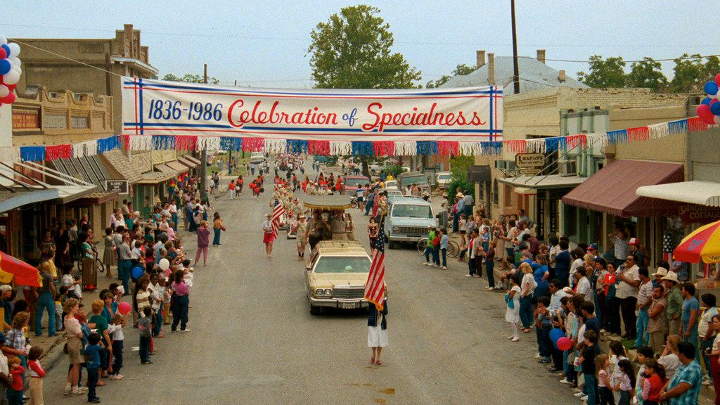"True Stories' ""Celebration of Specialness"" parade sequence was filmed on North Tennessee St. in McKinney. In the movie, David Byrne plays a visitor to the fictional small Texas town of Virgil who has an unusual dinner with a civic leader (Spalding Gray) and his family."