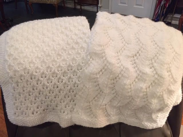 Betsy Weber Hurst always has a blanket going. She's made dozens, including these two.