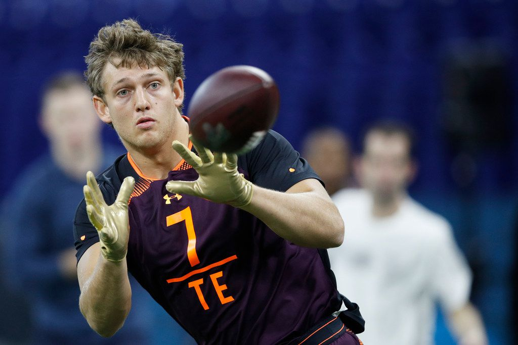 INDIANAPOLIS, IN - MARCH 02: Tight end T.J. Hockenson of Iowa works out during day three of the NFL Combine at Lucas Oil Stadium on March 2, 2019 in Indianapolis, Indiana. (Photo by Joe Robbins/Getty Images)
