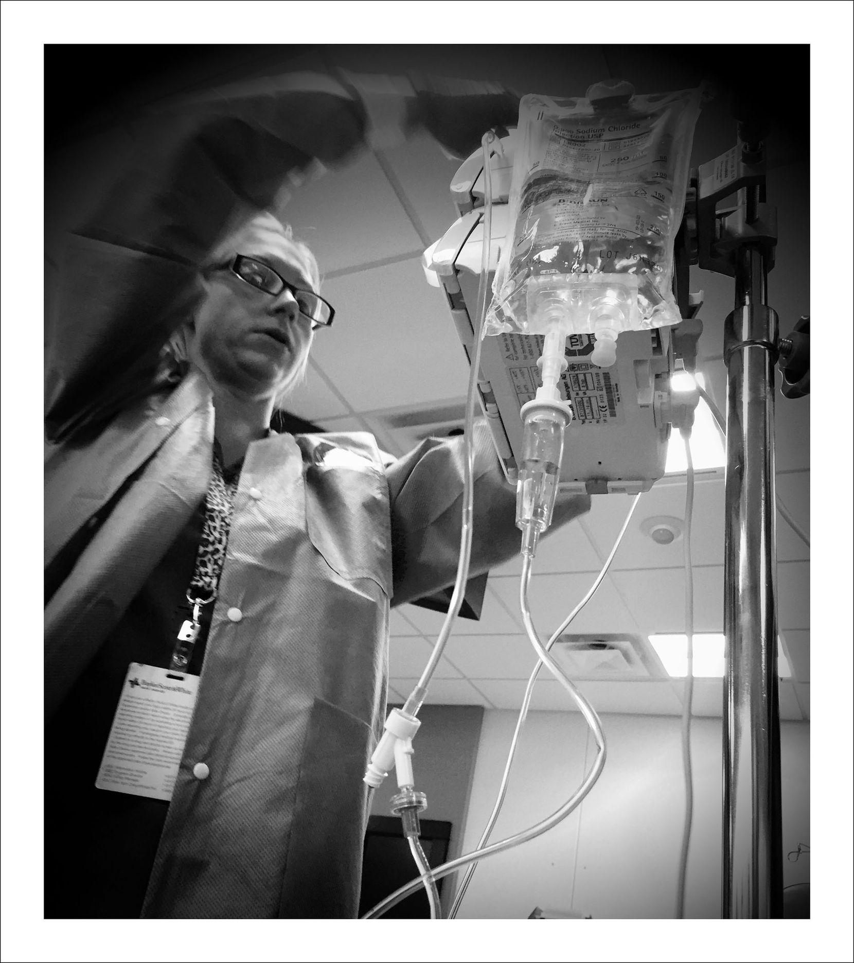 9/22/16 — Getting hooked up for the first day of chemotherapy.