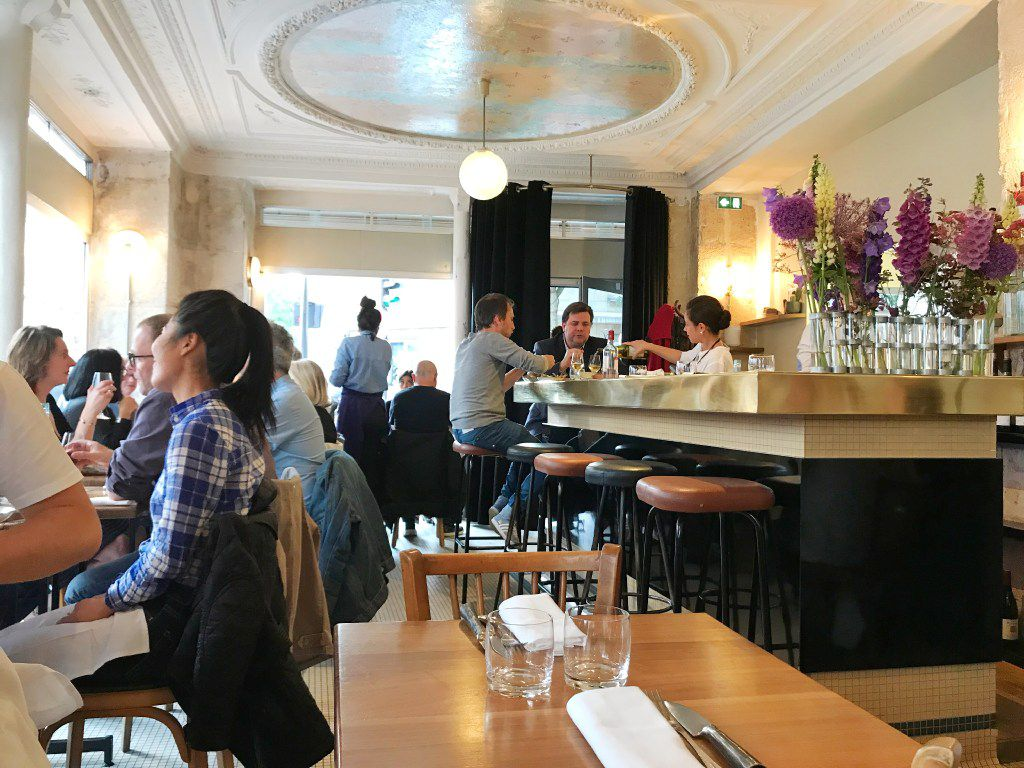 The dining room at Le Servan, a neo-bistro in Paris' 11th arrondissement