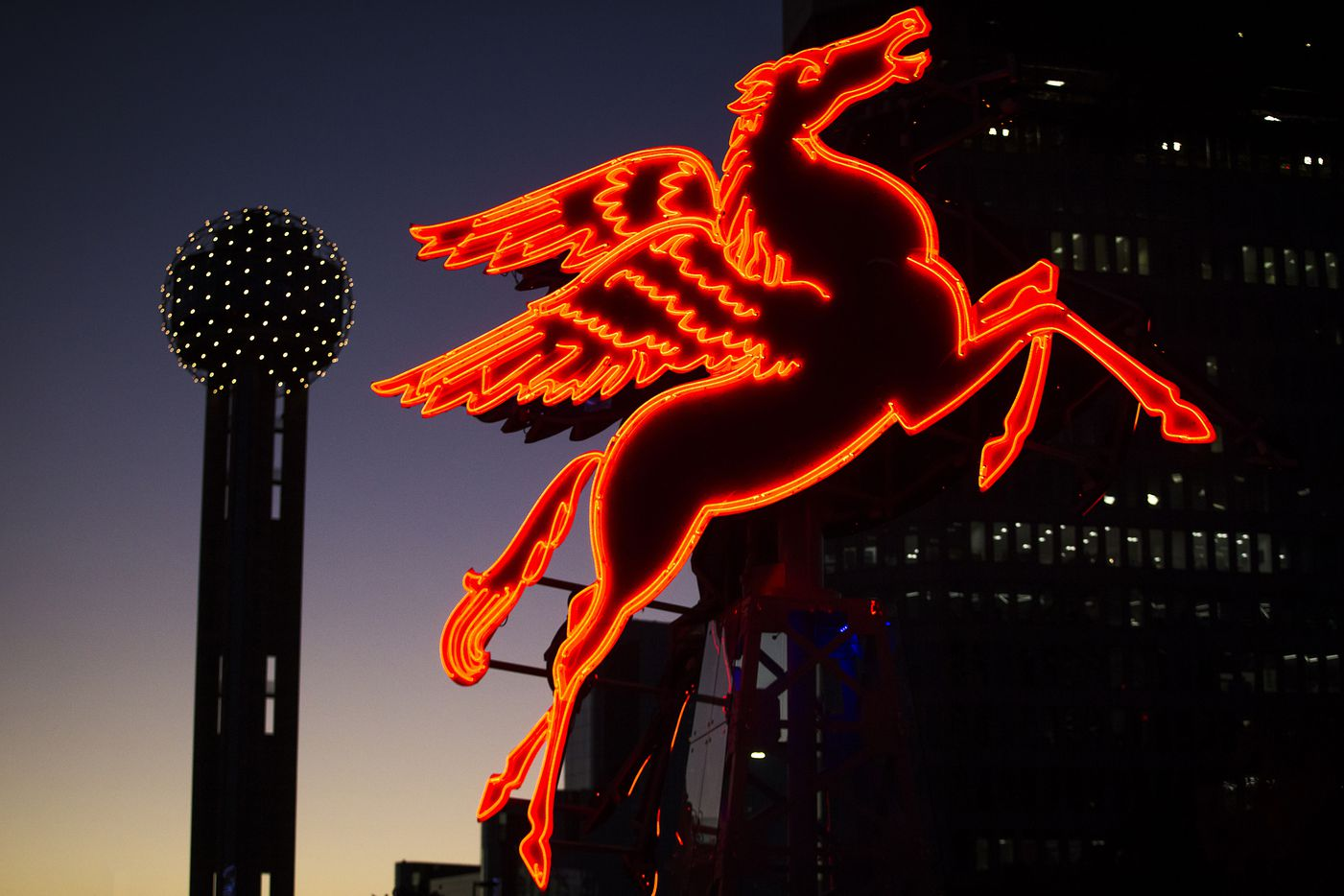 The restored original Pegasus now sits in front of the Omni Dallas Hotel, rotating on a small derrick-like structure.