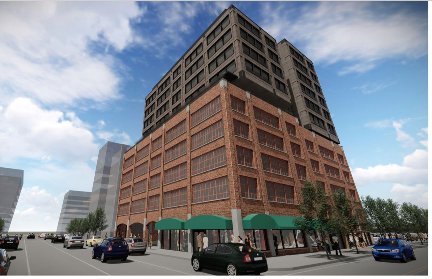 One initial development plan envisioned six floors of hotel rooms on top.