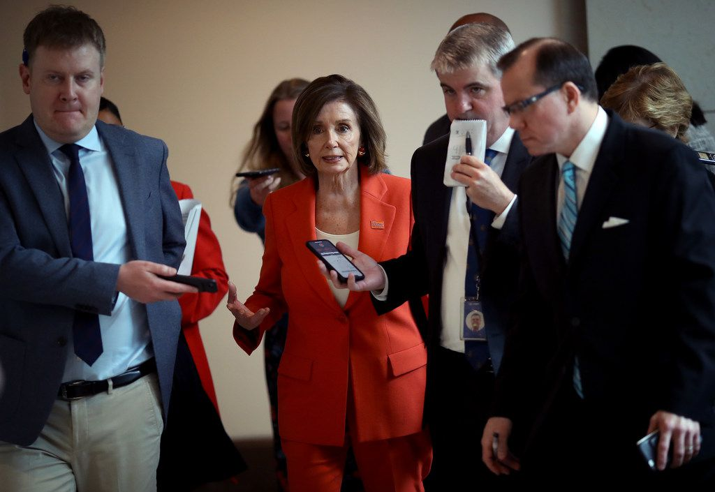 U.S. Speaker of the House Nancy Pelosi, D-Calif., is trailed by reporters following her weekly news conference at the U.S. Capitol on June 5, 2019, in Washington, D.C.