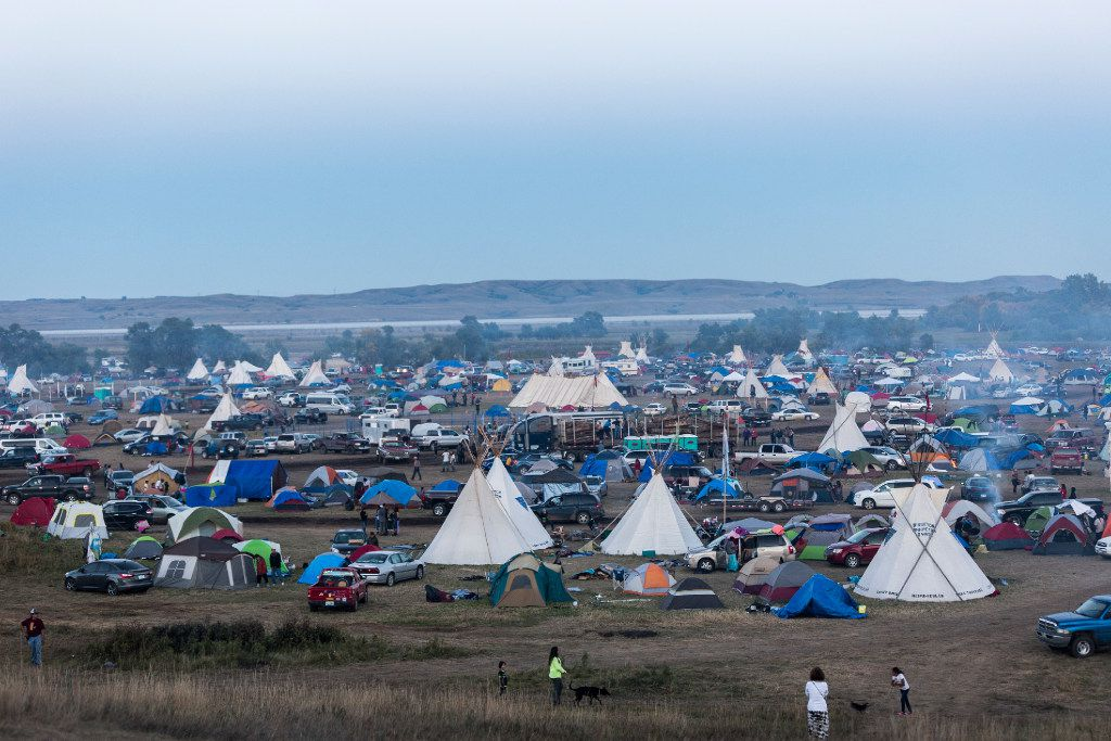 A view from Oceti Sakowin Camp near Missouri river at  Cannonball in North Dakota on Saturday, September 17th, 2016. The Oceti Sakowin Camp, where people have traveled from all over the world to pledge their support to the land protectors of the Dakota Access Pipeline.Construction has been halted after the Obama administration decision to suspend construction on a controversial oil pipeline in North Dakota.  (Jeenah Moon/Special Contributor)