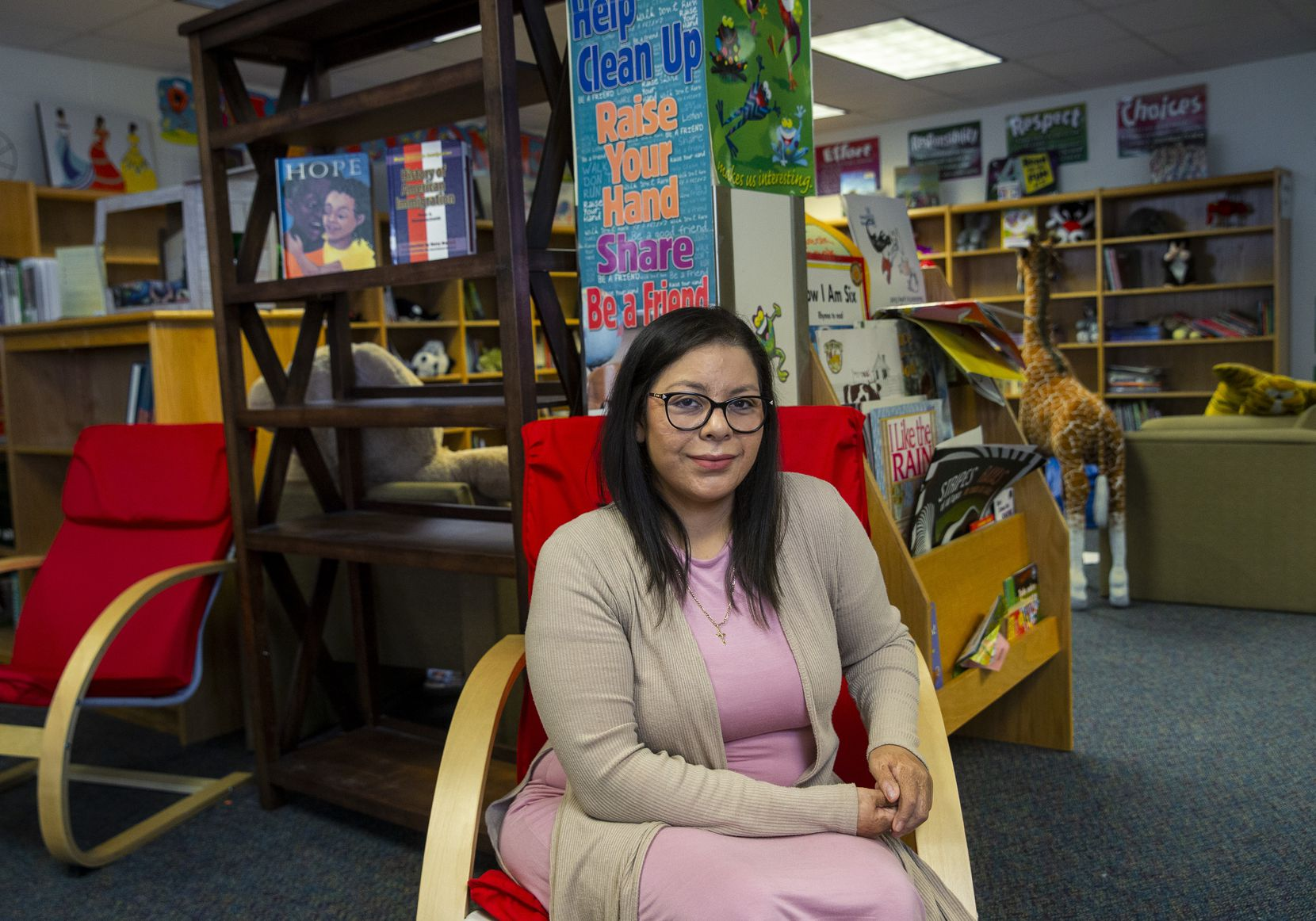Jessica Hernandez, a DACA recipient and community liaison at S.S. Conner Elementary School, poses for a portrait at the campus in Dallas on Friday, Nov. 9, 2019. The Supreme Court will hear arguments Tuesday about DACA's legality. Hernandez said that without DACA, her career would be irreparably disrupted. (Lynda M. Gonzalez/The Dallas Morning News)