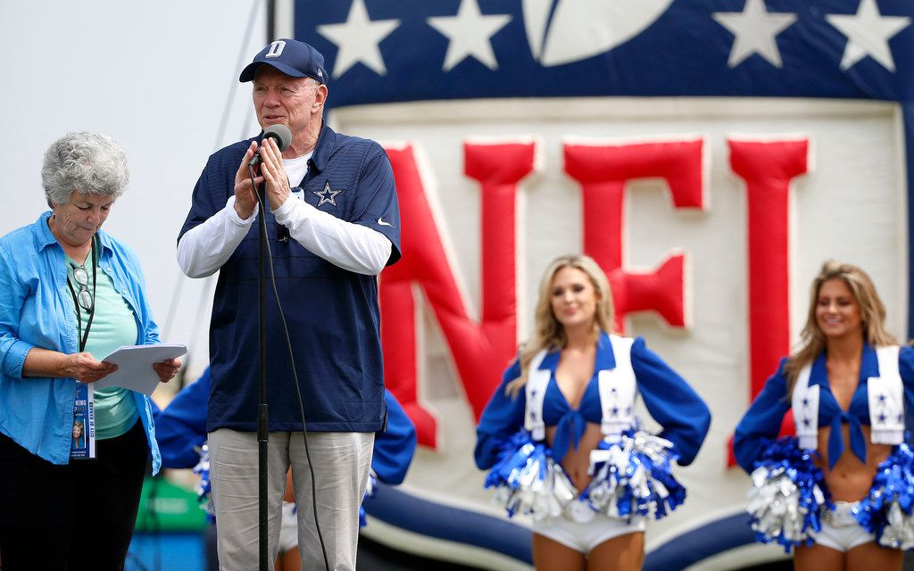 Dallas Cowboys owner Jerry Jones speaks next to Mayor Pro Tem Carmen Ramirez, left, during the opening ceremony at the training camp in Oxnard, Calif., Saturday, July 28, 2018. (Jae S. Lee/The Dallas Morning News)