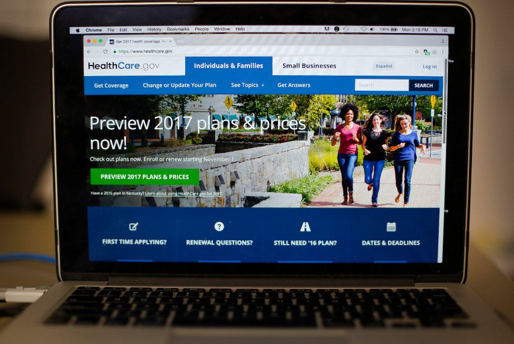FILE - File photo of the HealthCare.gov 2017 web site home page. Donald Trump'€™s election ushers in high anxiety for people with health insurance under President Barack Obama'™s law.  (AP Photo/Pablo Martinez Monsivais, File)