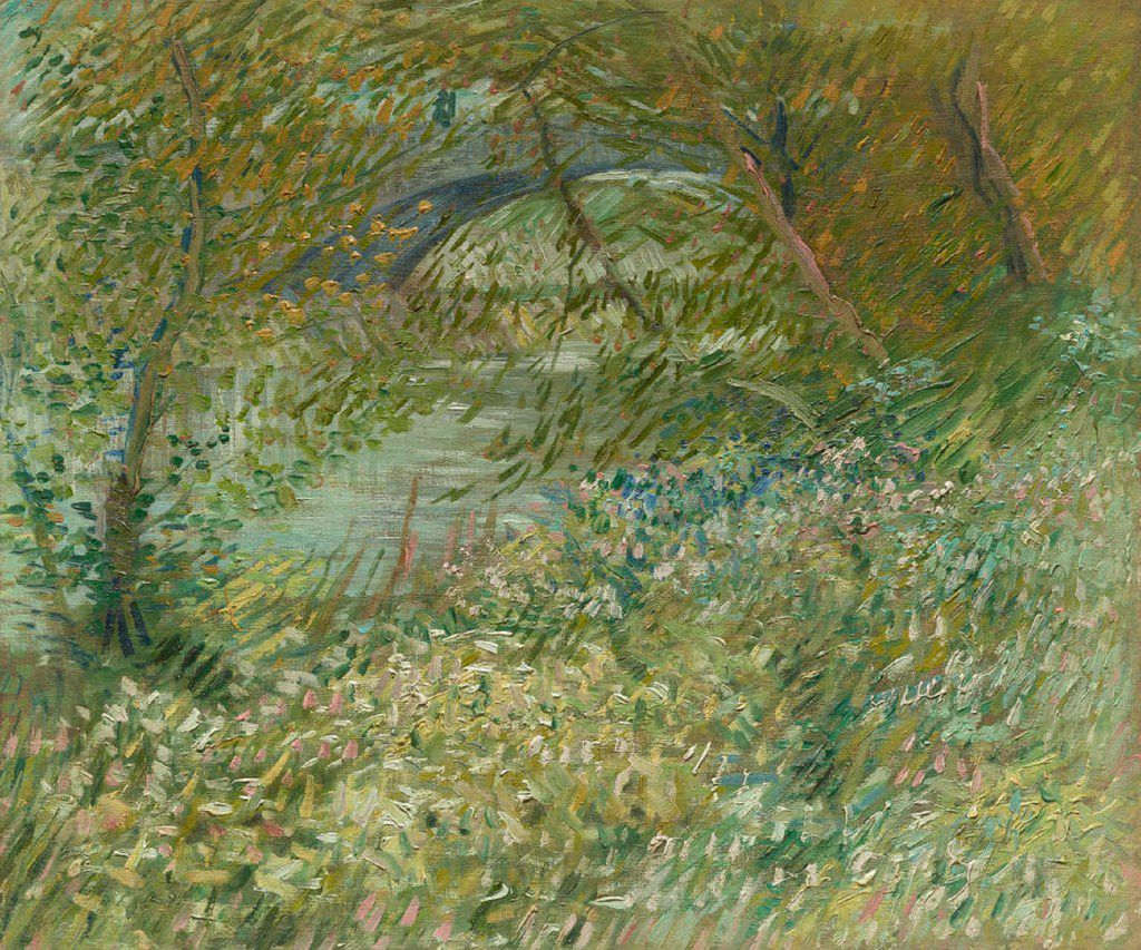 Vincent van Gogh, Dutch, active in France, 1853 to 1890, River Bank in Springtime, 1887.  Oil on canvas. Dallas Museum of Art, gift of Eugene and Margaret McDermott in memory of  Arthur Berger. The McDermotts gave the painting to the museum in 1961.