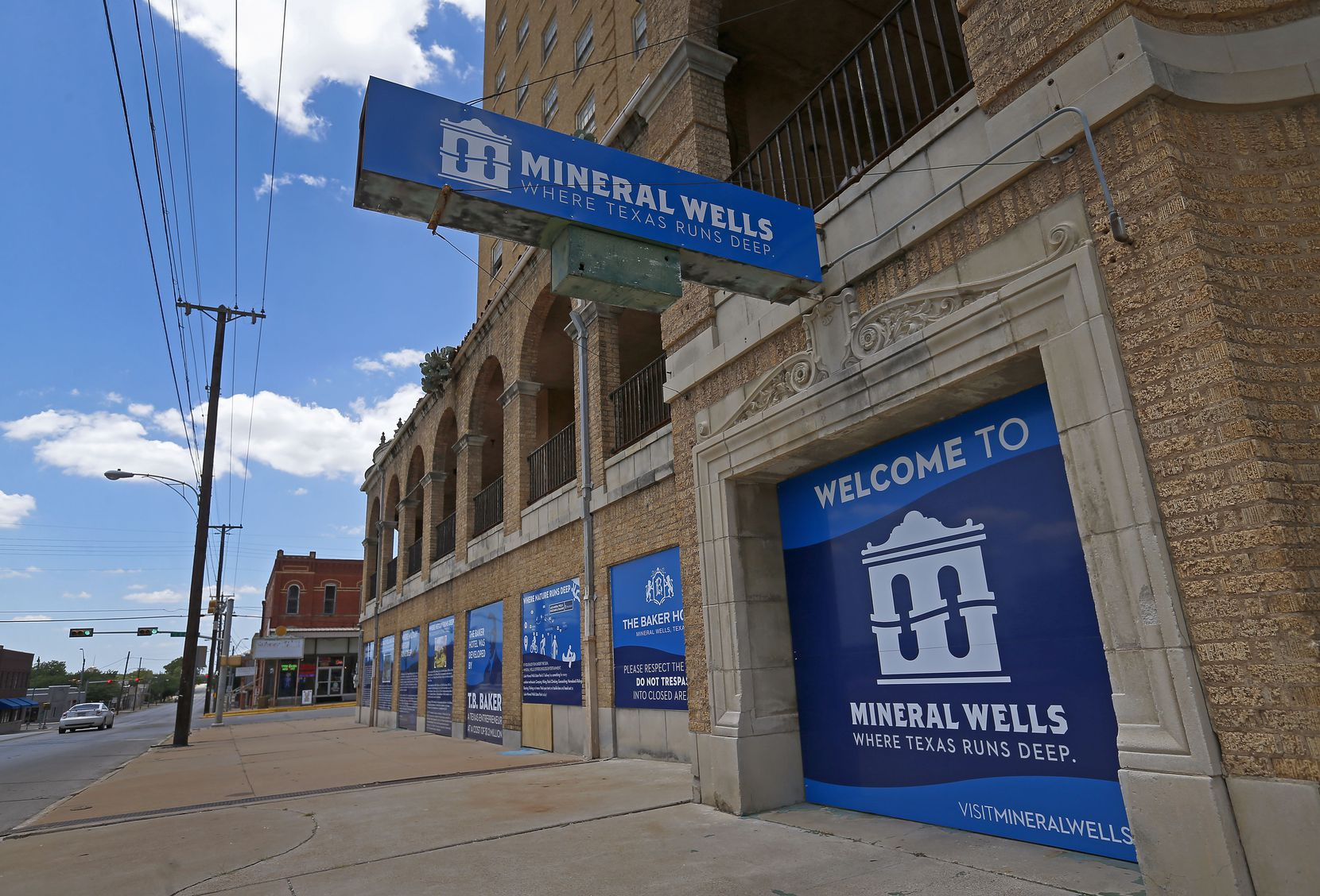 There's a welcome sign for the city on the historic Baker Hotel in Mineral Wells.