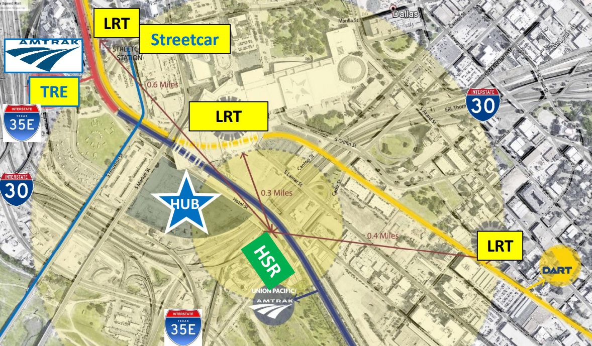 The likely location of the transit hub, as presented in Monday's council briefing.
