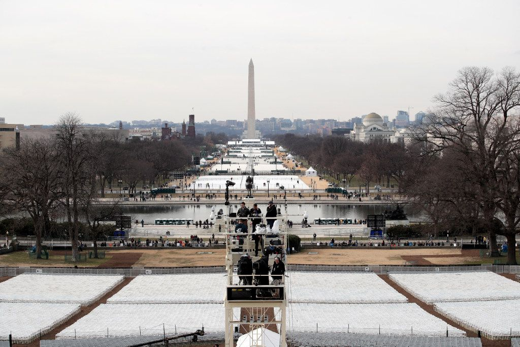WASHINGTON, DC - JANUARY 19: Chairs are set out on the National Mall by the West Front of the U.S. Capitol on January 19, 2017 in Washington, DC. Donald J. Trump will be sworn in tomorrow as the 45th president of the United States.  (Photo by Scott Olson/Getty Images)