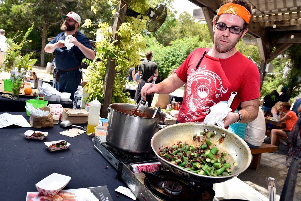 Chef Mark Wooton of Garden Cafe prepared a bamya stew with okra, tomato, lamb and bacon during the seventh annual Okrapalooza at The Lot in Dallas.