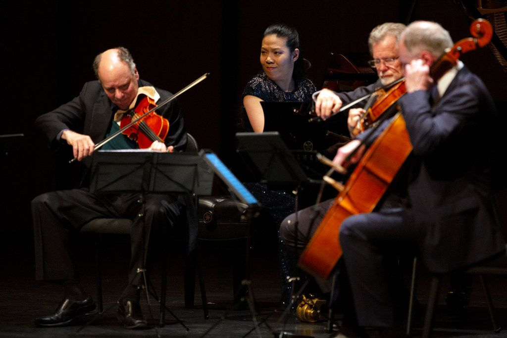 Chamber Music International features pianist Joyce Yang (center) performing with the Alexander String Quartet at Moody Performance Center in Dallas March 9, 2019. (Allison Slomowitz/ Special Contributor)