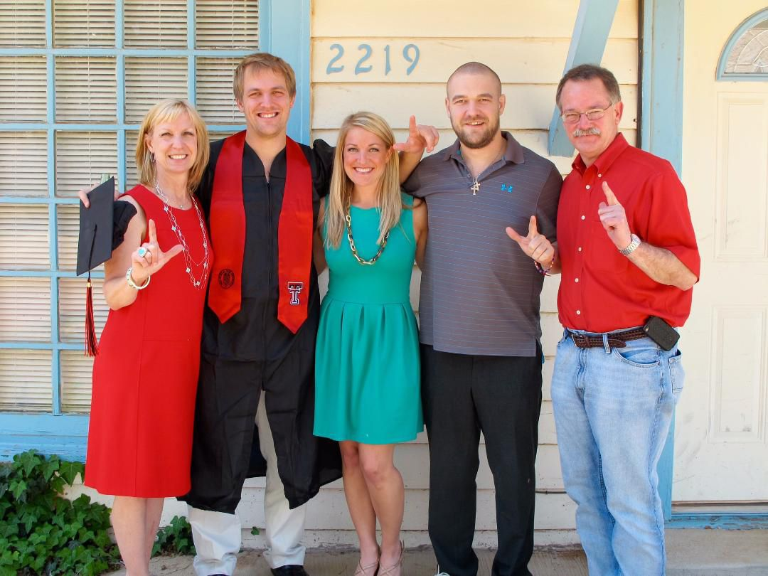 """Patrick McSwane, second from right, with his parents, Doug and Mary Mozelle """"Mo"""" McSwane, his sister, Marcie, and brother, Ryan, in May 2012, several months before he died. The family was celebrating Ryan's graduation from Texas Tech University in Lubbock."""