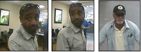 Plano police are looking for two men who withdrew money from a victim's bank account in 10 North Texas cities in April.