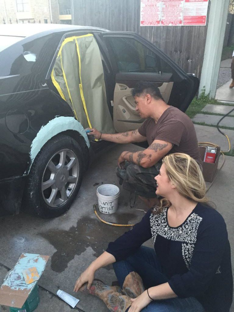 Cheri Garcia, co-founder of Cornbread Hustle, a staffing agency for ex-cons, is helping Ben Cardenas start an auto-body repair business. Cardenas spent 20 years in prison.