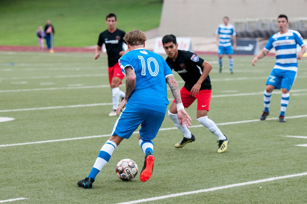 Jamie Lovegrove of the Fort Worth Vaqueros cuts back against the Tyler FC defense. (5-11-19)