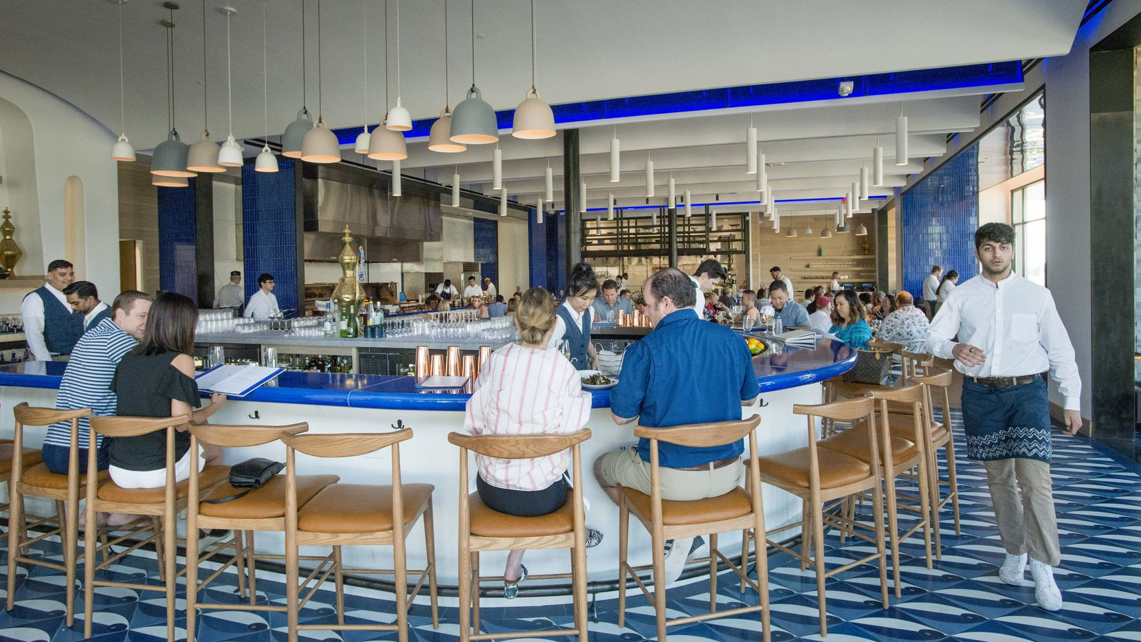 Zaytinya in Frisco was a big, open restaurant with bright splashes of blue.