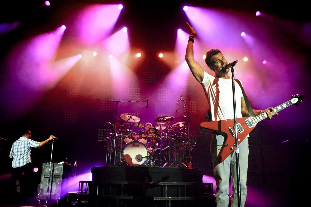 311 vocalist and guitarist, Nick Hexum, sings during the band's Unity Tour 2011 performance at Gexa Energy Pavilion on Saturday, August 13, 2011.