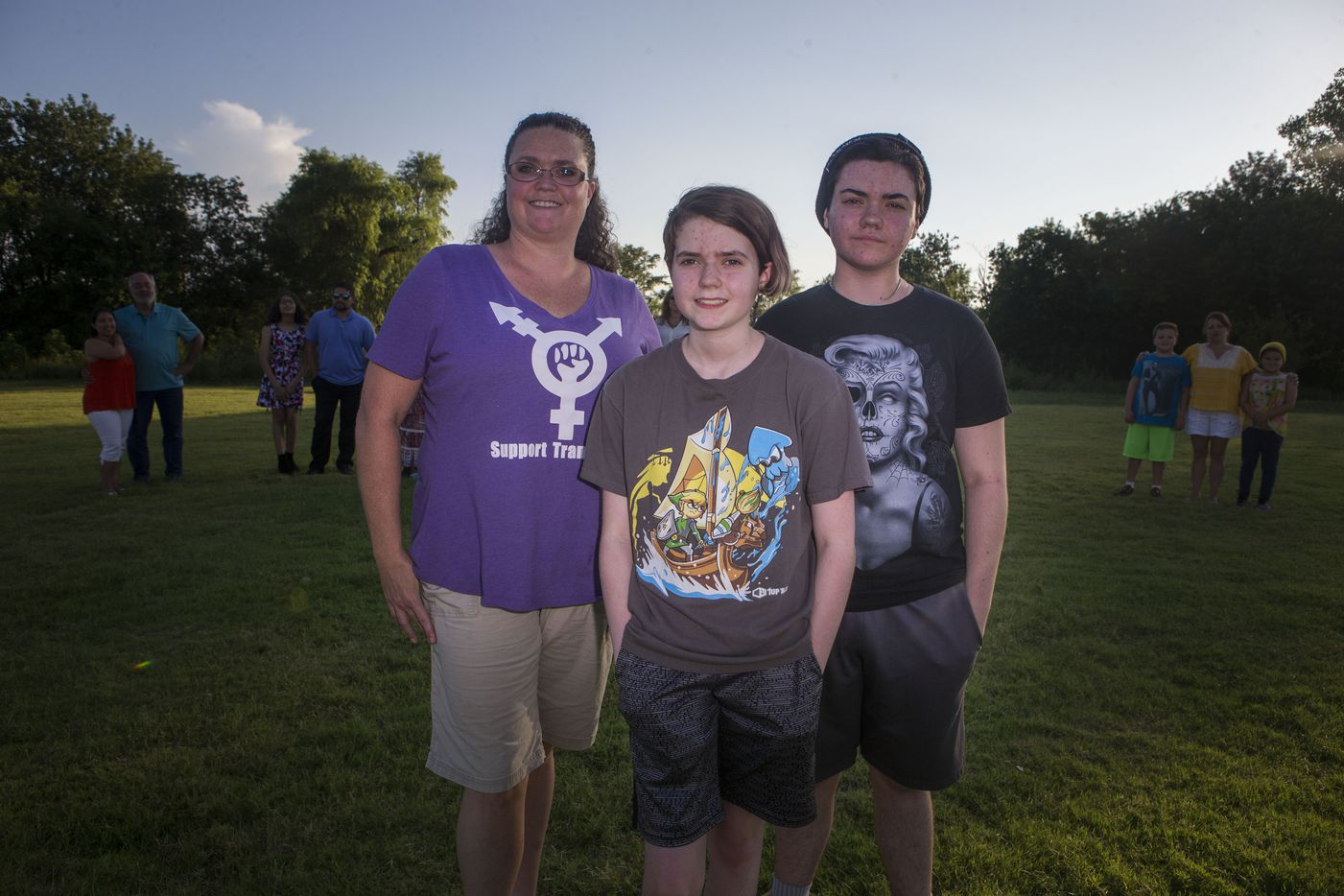 "Melissa, Kennedy and Ashur Ballard on July 7, 2017, in Little Elm. ""We've built this community. This has become my ministry,"" Melissa Ballard said. The Ballards are part of a group of families with transgender youth."