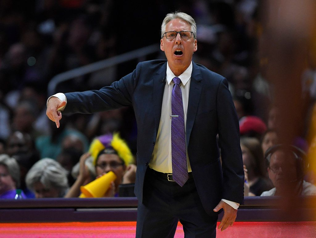 FILE - In this Sept. 29, 2017, file photo, Los Angeles Sparks head coach Brian Agler gestures during the first half in Game 3 the WNBA basketball finals against the Minnesota Lynx, in Los Angeles. Agler, who led the Los Angeles Sparks to the WNBA championship in 2016, has resigned as coach after four years. The team made the announcement early Friday, Nov. 30, 2018, without explanation.(AP Photo/Mark J. Terrill, File)
