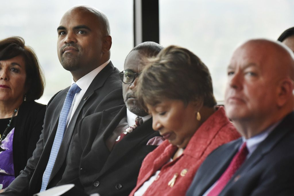 U.S. Rep.  Colin Allred (from left), U.S. Rep. Eddie Bernice Johnson and Census Bureau associate director for field operations Tim Olson attended the formal opening of the bureau's Dallas-Fort Worth field offices on Thursday.